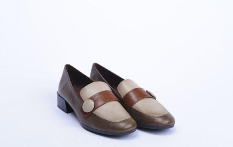 Γυναικεία Παπούτσια Γυναικείο Τρίχρωμο Μοκασίνι Μπεζ Ταμπά Καφέ