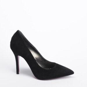 Γυναικεία Παπούτσια Handmade Μαύρη Γόβα Καστόρ με Κόκκινη Σόλα και Κουμπιά στη Φτέρνα