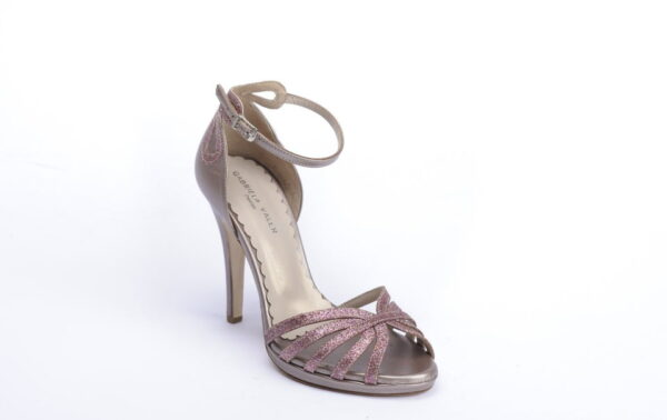 Gabriela Valeri Handmade Πέδιλο Laser Cut με Ροζ Glitter