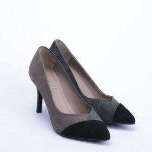 Γυναικεία Παπούτσια Τρίχρωμη Γοβα Γκρι-Μαύρο-Πούρο με άνετη σόλα