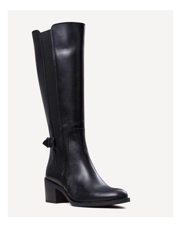 Γυναικεία Παπούτσια Γυναικεία Δερμάτινη Μπότα με Λάστιχα και Τοκά – Μαύρη