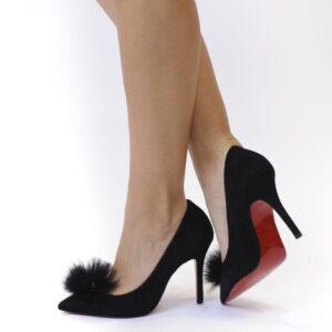 Γυναικεία Παπούτσια Handmade Γόβα Με Κόκκινη Σόλα και Γούνινη Διακόσμηση
