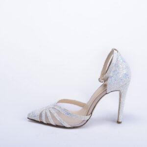 Γυναικεία Παπούτσια Handmade Γόβα με Άσπρο Ιριδίζον Glitter