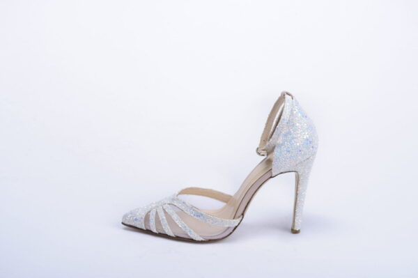 Gabriela Valeri Handmade Γόβα με Άσπρο Ιριδίζον Glitter