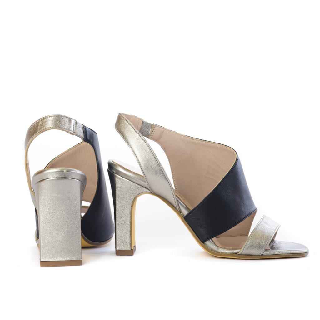 Γυναικεία Παπούτσια Δίχρωμο Πέδιλο με Λοξό Δέσιμο