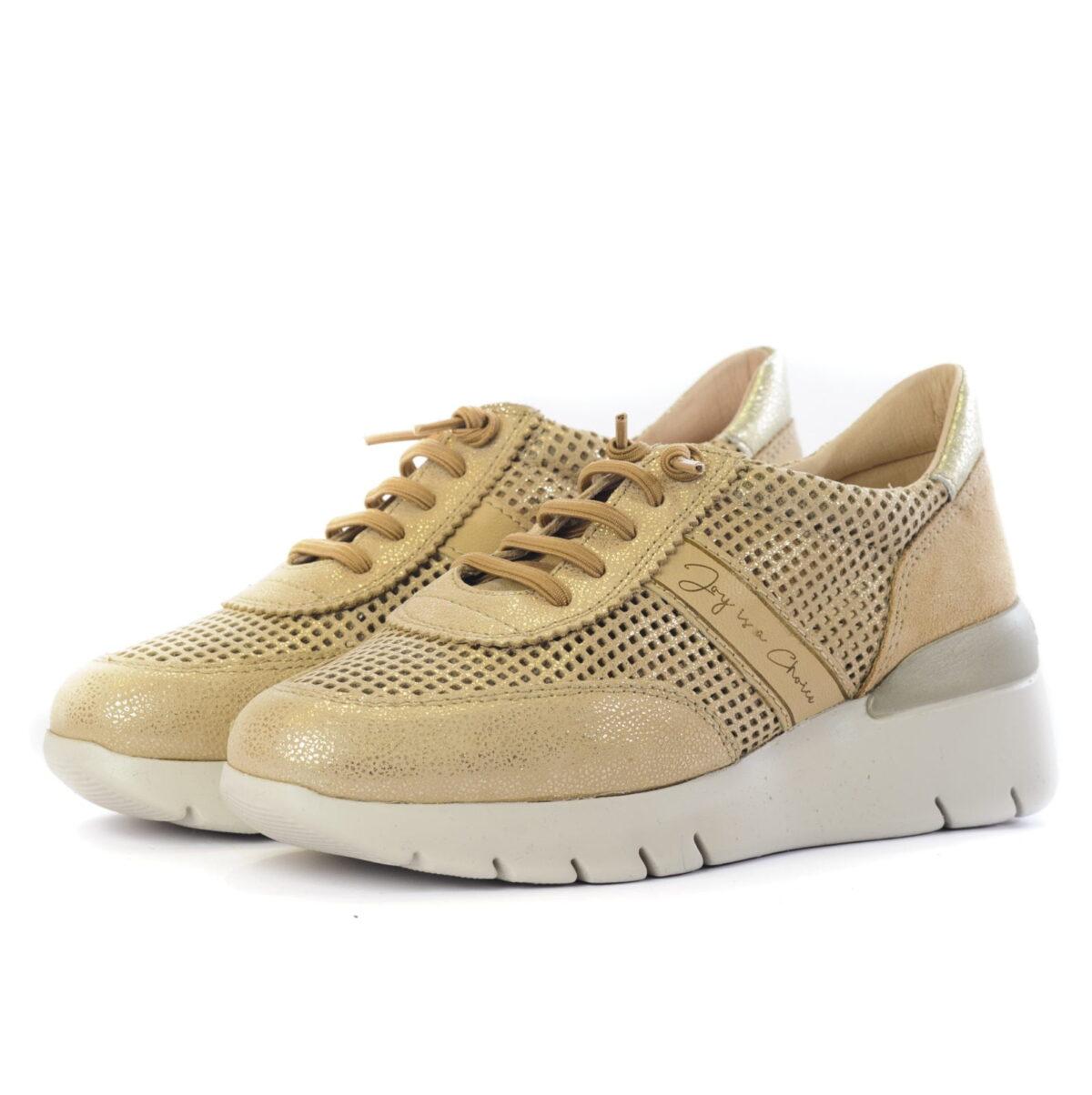 Casual Sneakers Γυναικεία Casual Sneaker Μπέζ Χρυσό