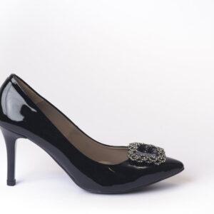 Γυναικεία Παπούτσια Γυναικεία Γόβα Μαύρη  με Αγκράφα με Στράς