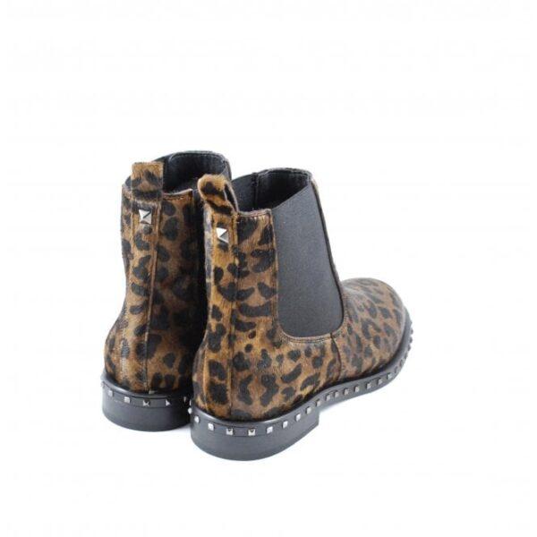 Γυναικεία Παπούτσια Γυναικείο Μποτάκι Leopard με φυσική τρίχα