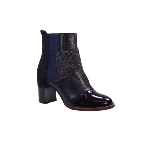 Γυναικεία Παπούτσια Μποτάκι με 3 υφές Λουστρίν, Animal Print, λείο δέρμα