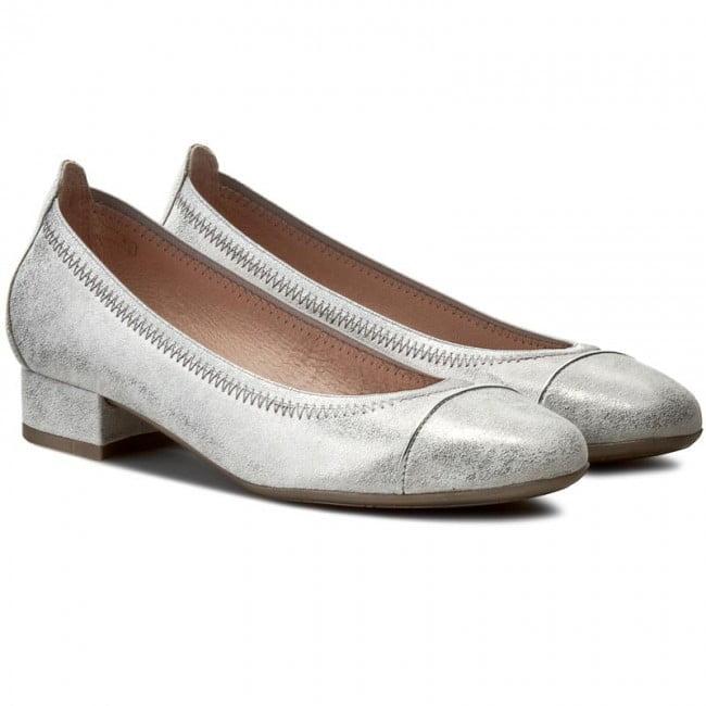 Γυναικεία Παπούτσια Χαμηλή Γόβα με πολύ ιδιαίτερο ασημί δέρμα