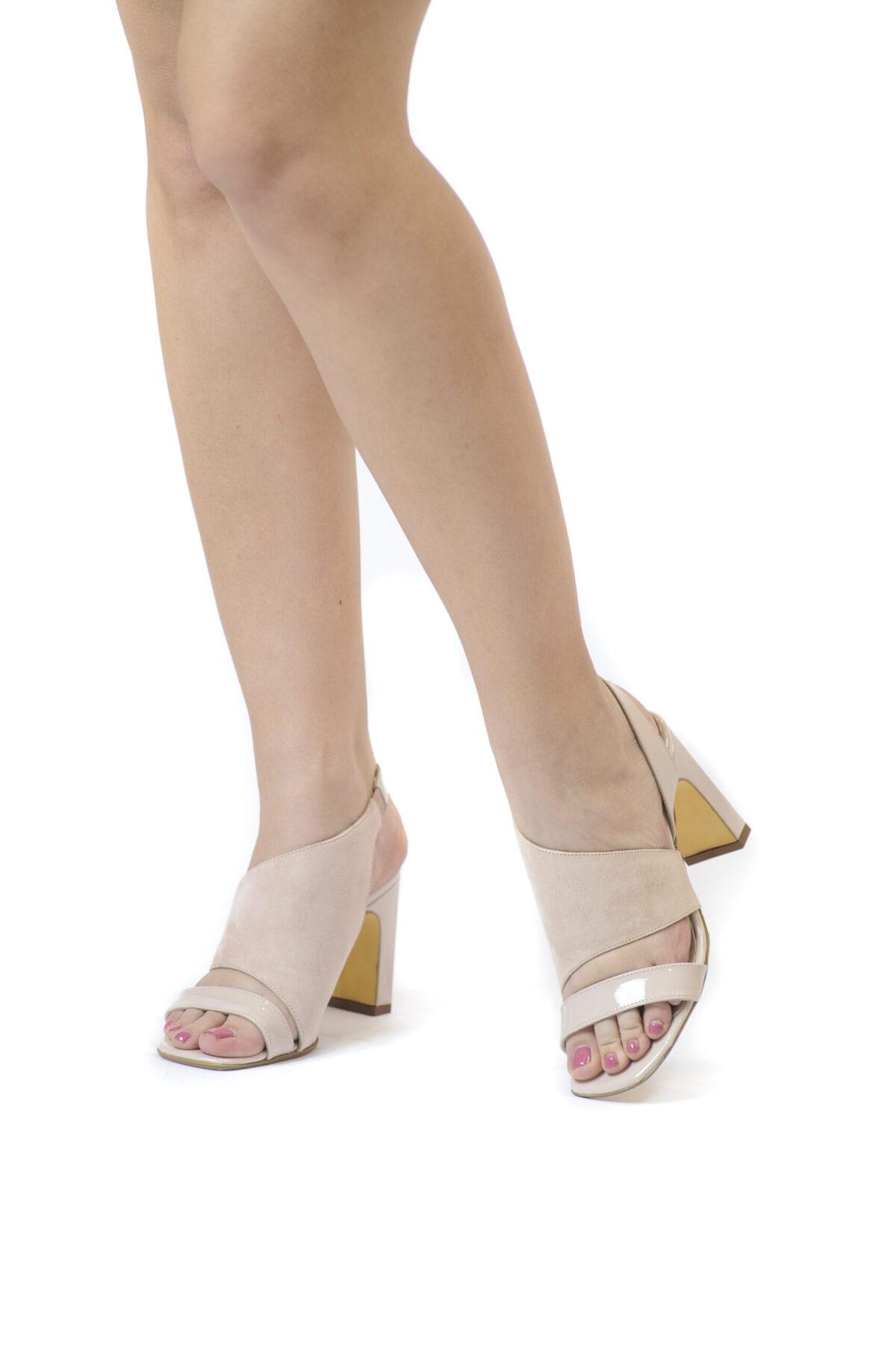 Γυναικεία Παπούτσια Total Nude Πέδιλο σε 2 Υφές