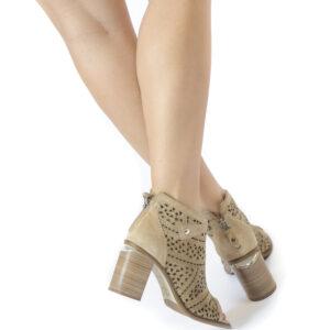 Γυναικεία Παπούτσια Peeptoe Μποτάκι με επεξεργασία LASER CUT