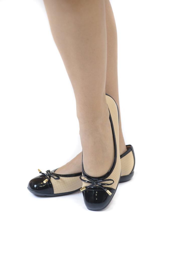 Γυναικεία Παπούτσια Γυναικεία Μπαλαρίνα Δίχρωμη Μαύρη Ταμπά