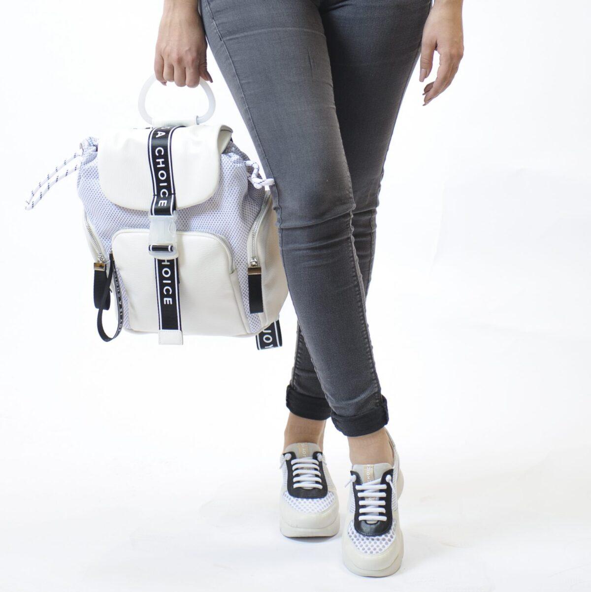 Γυναικεία Luxury Backpack με Δέρμα και Ύφασμα 3