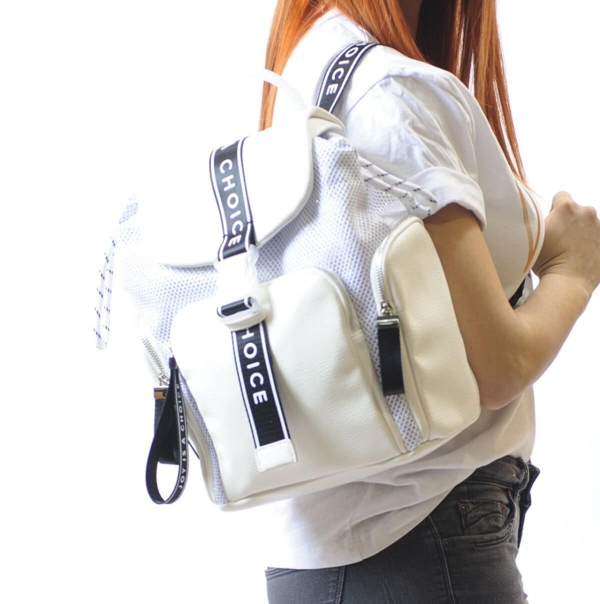 Γυναικεία Luxury Backpack με Δέρμα και Ύφασμα 1