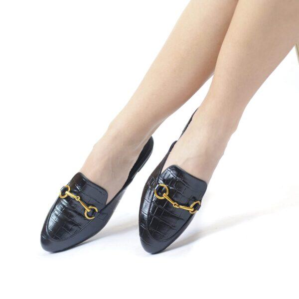 Γυναικεία Παπούτσια Mule Κροκό Παντόφλα Style Μοκασίνι