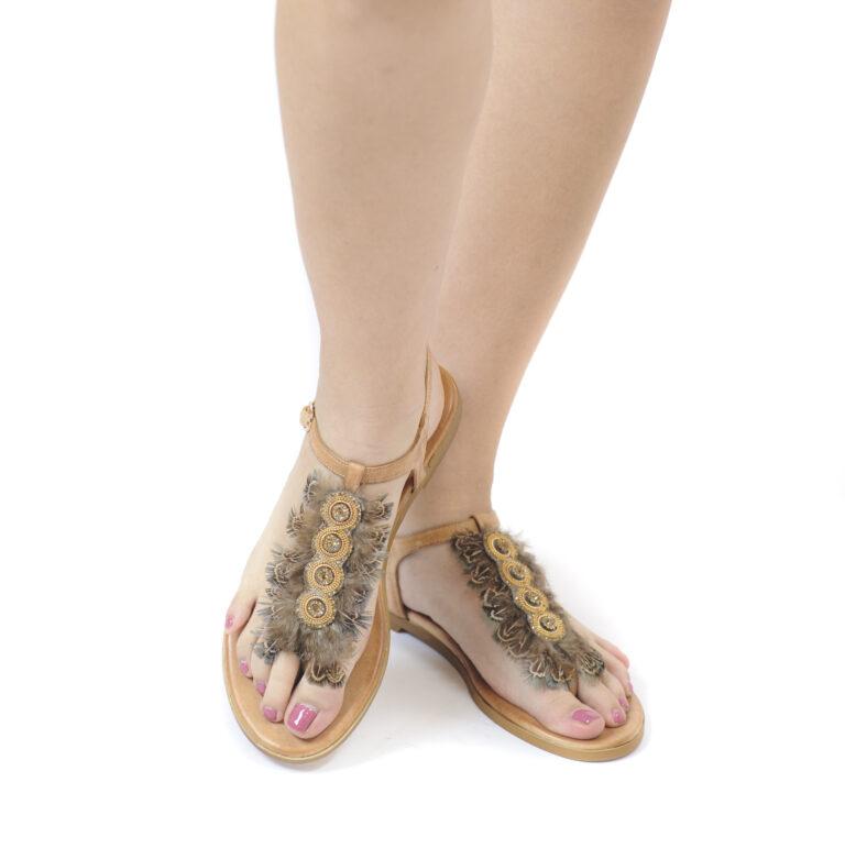 Γυναικεία Παπούτσια Γυναικείο Flat Πέδιλο με Πούπουλα