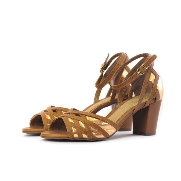 Γυναικεία Παπούτσια Γυναικείο Πέδιλο με Gold Mirror Λεπτομέρειες