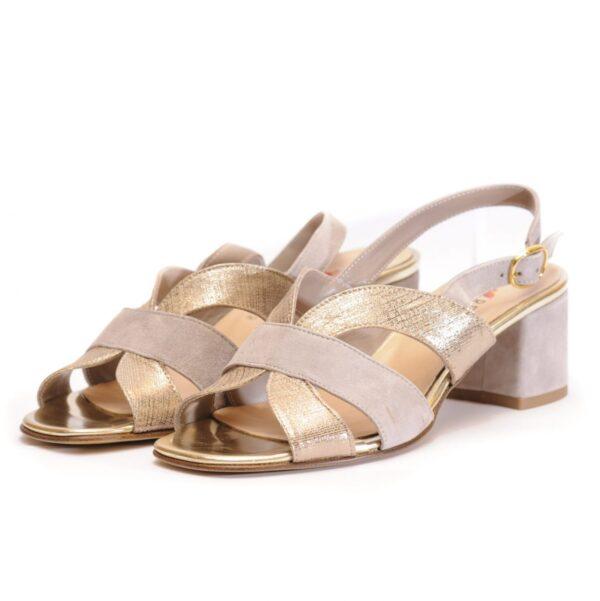 Γυναικεία Παπούτσια Γυναικείο Πέδιλο με Χρυσά Λουράκια