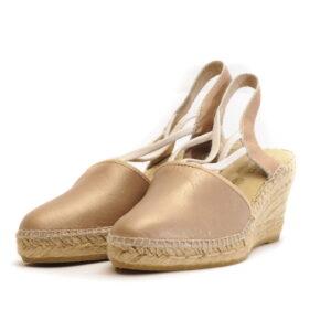 Γυναικεία Παπούτσια Εσπαντρίγια με Μεσαίο Τακούνι και Λείο Δέρμα