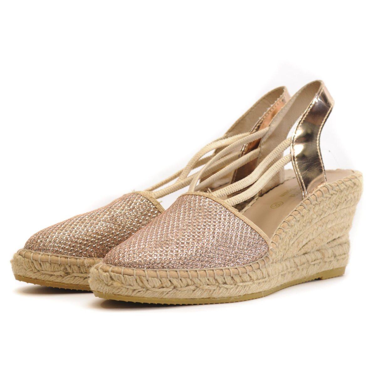 Γυναικεία Παπούτσια Γυναικεία Εσπαντρίγια με Χρυσό Glitter