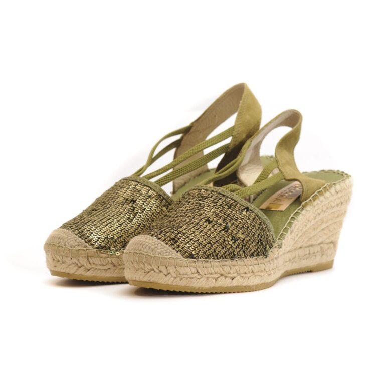 Γυναικεία Παπούτσια Γυναικεία Εσπαντρίγια με Χακί Παγιέτα