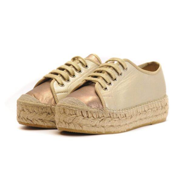 Γυναικεία Παπούτσια Γυναικεία Εσπαντρίγια Δετή με Χρυσό Μπρονζέ