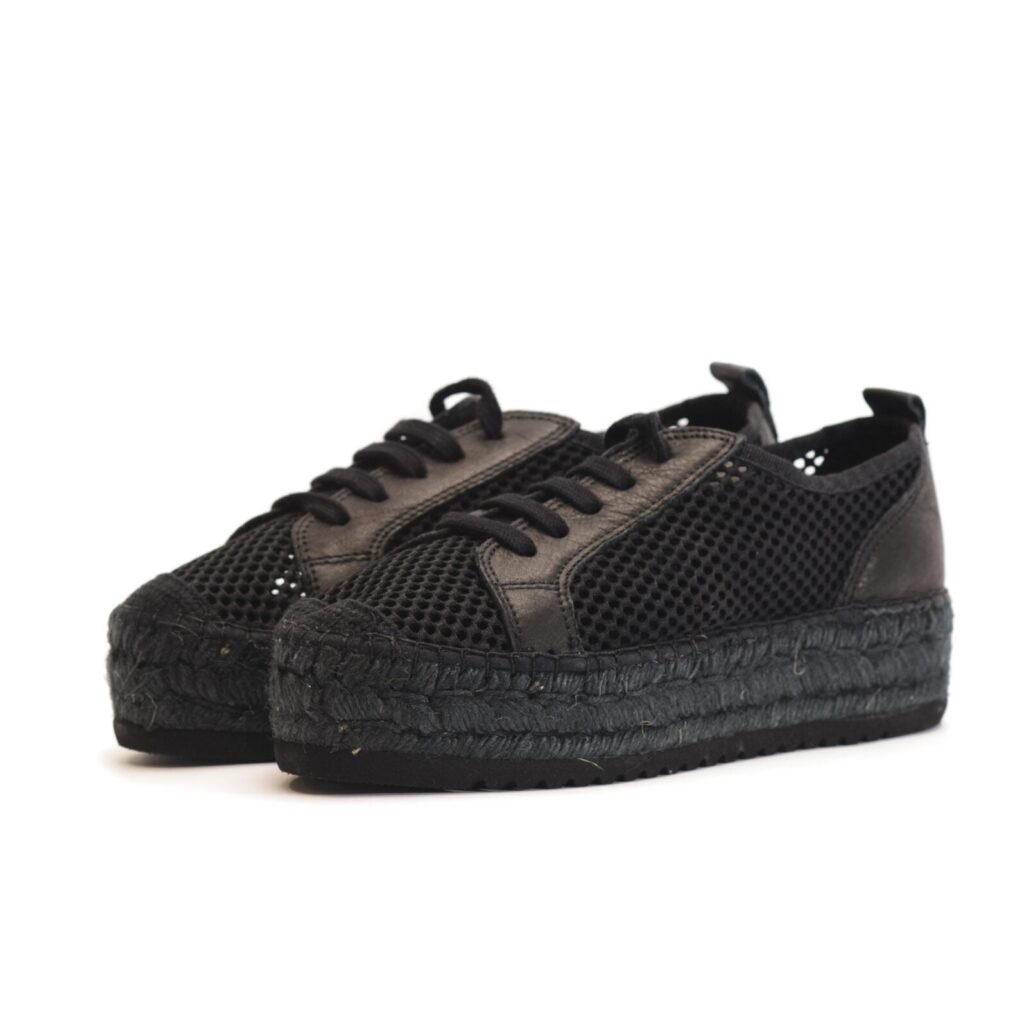 Γυναικεία Παπούτσια Γυναικεία Μαύρη Δικτυωτή Εσπαντρίγια