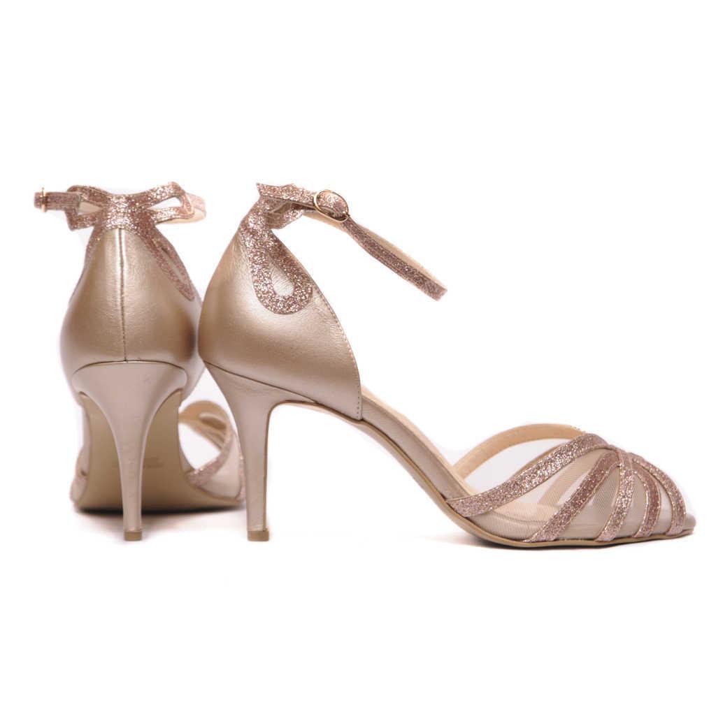 Χειροποίητα Νυφικά Παπούτσια - Handmade Πέδιλο με Glitter Λουράκια